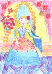 Child's painting beautiful girls.