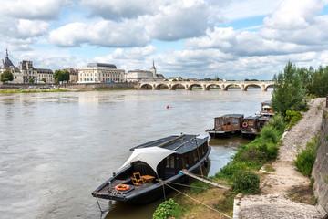 Boats on the Loire in Saumur, Maine-et-Loire department (France)