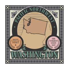 Stamp or label with name and map of Washington, USA