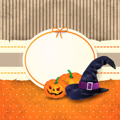 Halloween background with label, pumpkins and hat