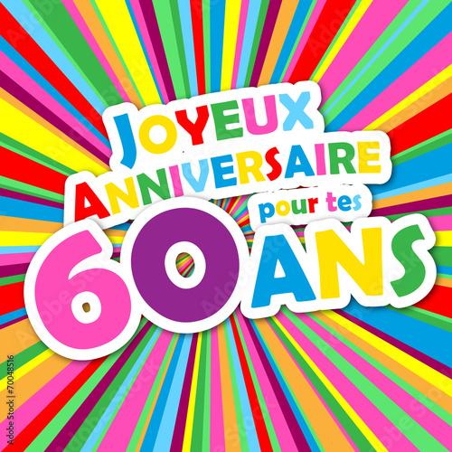 Carte joyeux anniversaire pour tes 60 ans f te f licitations fichier vectoriel libre de - Animation anniversaire 60 ans femme ...