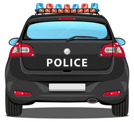 Vector Police Car - Back view