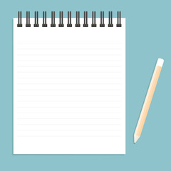 White notebook with lines can shred and pencil. vector illustrat