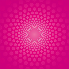 pink circular background with polka dots