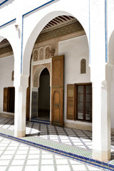 Beautifully decorated with Arabic ornaments the El Bahia Palace.