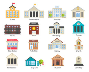 Color government buildings  icons set in flat style, vector