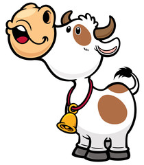 Vector illustration of Cartoon Cow