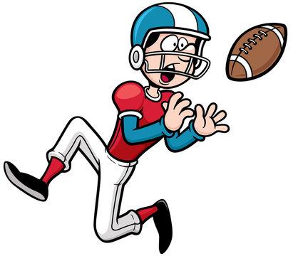 Vector illustration of Cartoon American football player