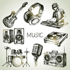 Sketch music set. Hand drawn vector illustrations of Dj icons