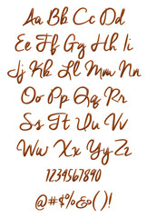 3d alphabet & numbers and symbols made of chocolate syrup