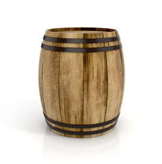 wine barrel on white background. 3d illustration