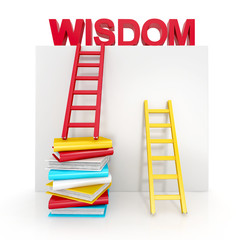 ladders and books up to wisdom. education concept