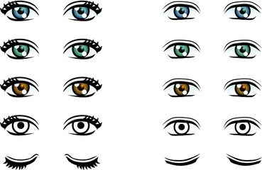 Vector Man and Woman eyes in different color