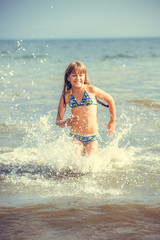 happy girl in the sea