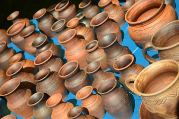 Sale of ceramic ware at fair of national creativity