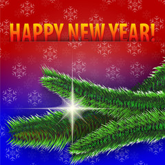 Happy New Year! greeting card on blue and red background