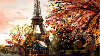 Wall Mural - Street in paris. Eiffel tower -  illustration
