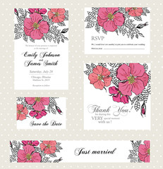 Wedding invitation set with vintage flowers