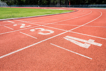 Rubber running lane for sprint or race