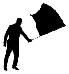 Silhouette Businessman Waving Flag