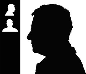 Old man head silhouette