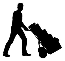 Silhouette Delivery Man Pushing Handtruck With Packages