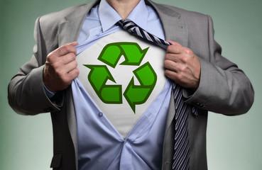 Superhero green eco businessman