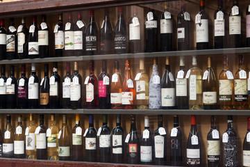 Aluminium Prints Bar Showcase of alcohol store in Logrono. Spain