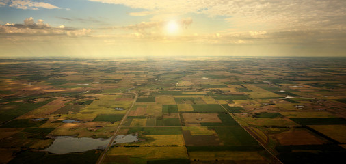 Aerial Sun on the Horizon over Farmland Wall mural