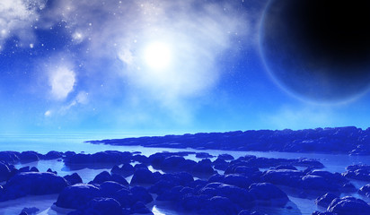 3D space background with alien landscape
