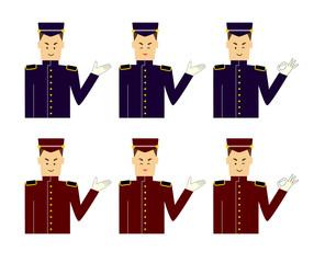 A set of images of a door man, butler or bellboy