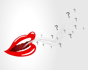 mouth, lips - vector, question mark