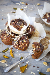 rustic muffins with pumpkin chocolate and oat flakes