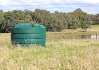 Large fresh eco water tank on rural property