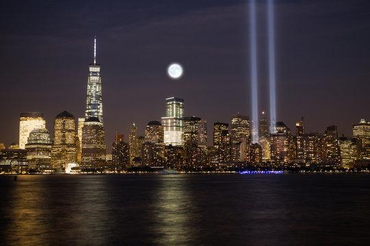 Tribute in Light at lower Manhattan