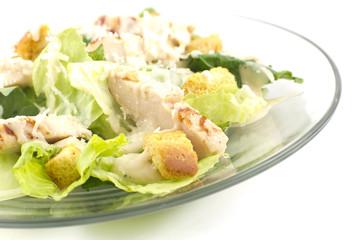 Chicken Caesar Salad Isolated on White