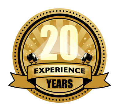 Label with the text 20 Years Experience written inside