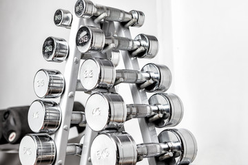 A rack with metal dumbbells.