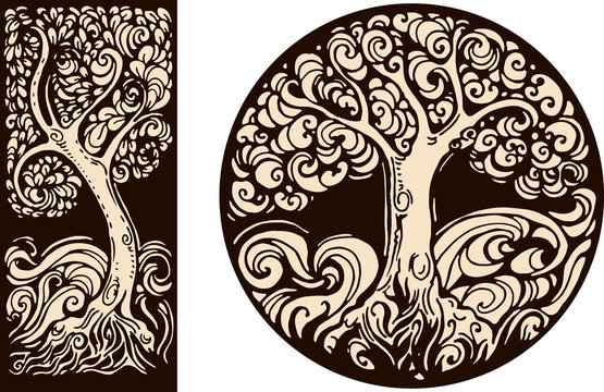 decorative images in retro graphic style with tree