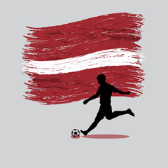 Soccer Player action with Republic of Latvia  flag on background