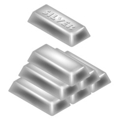 silver bar pyramid 3D design isolated