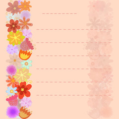 Flowers background on sheet of paper