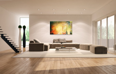 Living room con dipinto astratto