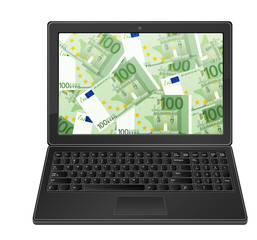 laptop and one hundred euro background