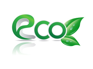 Eco symbol. green leaves in glossy ball vector Illustration