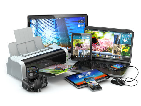 Computer devices. Mobile phone, laptop, printer, camera and tabl
