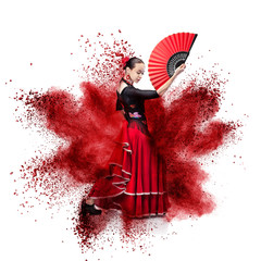 Photo Blinds Carnaval young woman dancing flamenco against explosion
