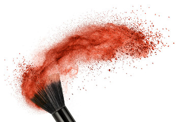 makeup brush with red powder isolated