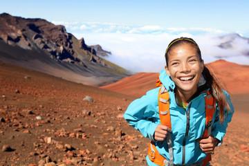 Hiking - hiker walking on volcano