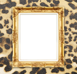 blank golden frame with leopard texture